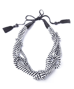 5 Knot Necklace- Black and White