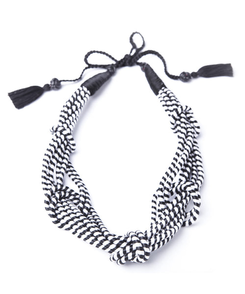 5 Knot Necklace- Black and White-SOLD OUT