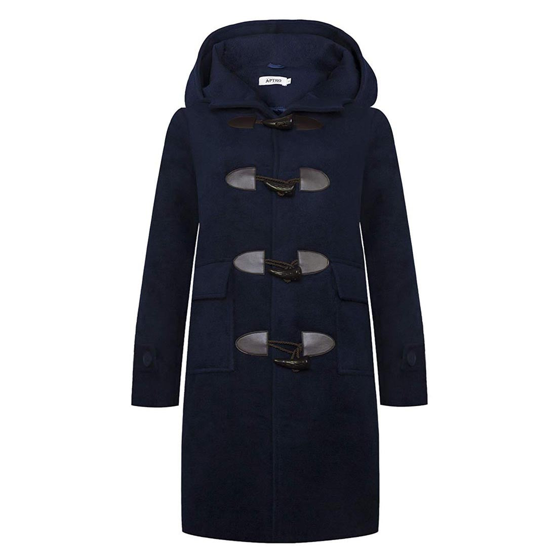 Womens Winter Casual Hooded Wool Trench Coat Long Overcoat Aptro