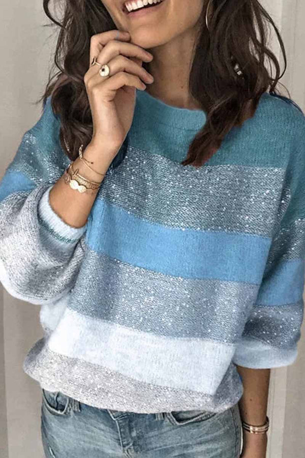 Aptro Loose Round Neck Multicolor Knit Sweater