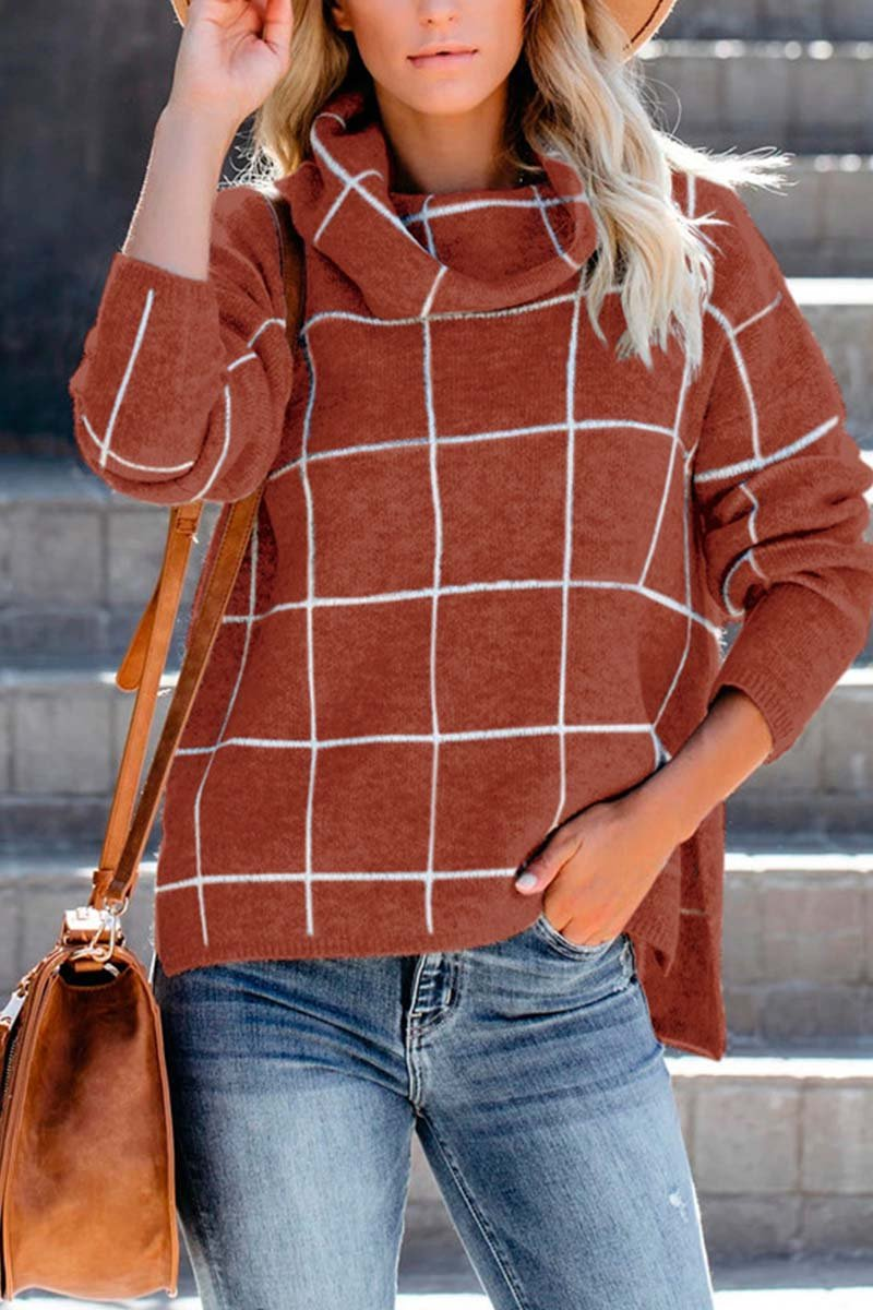 Aptro Turtleneck Plaid Sweater
