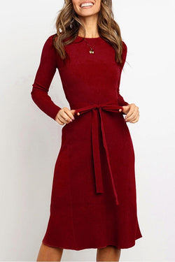 Aptro Lace-up Solid Autumn Dress