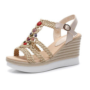 Ethnic Style Hemp Rope Woven High-Heeled Platform Sandals - Beige - Aptro Fashion
