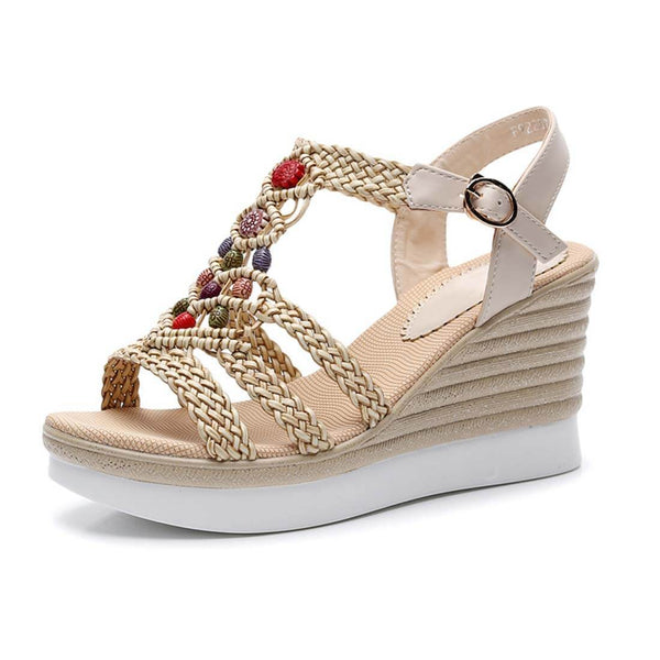 Ethnic Style Hemp Rope Woven High-Heeled Platform Sandals - Beige - Aptro