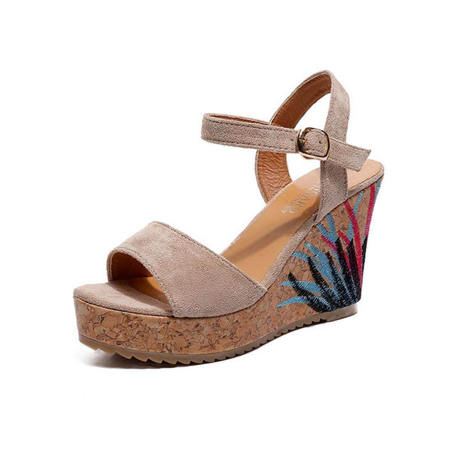 Muffin Thick-Bottomed Fish Mouth High-Heeled Beige Sandals - Aptro Fashion