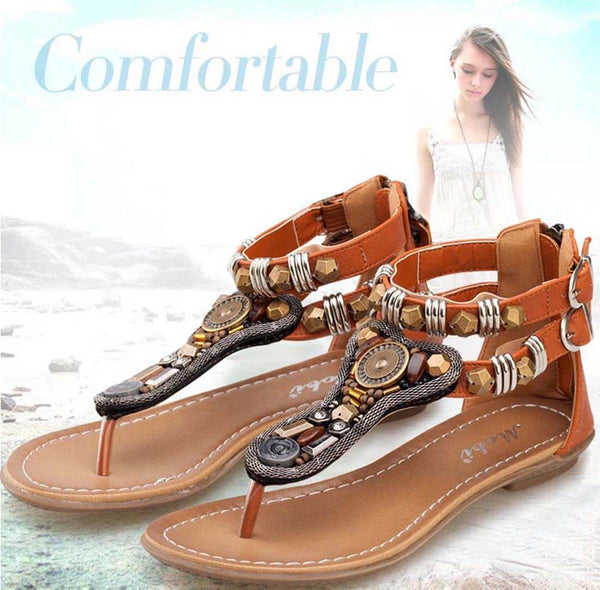 Roman Style Flat Brown Sandals - Aptro