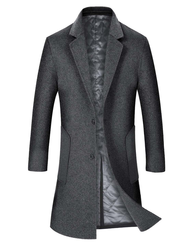 Aptro Men's Long Wool Coat