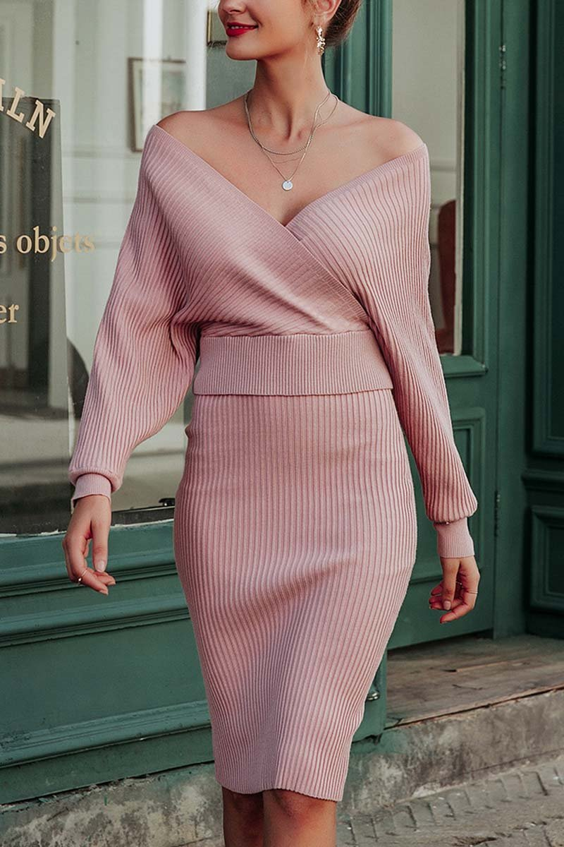 Aptro Winter Sexy V Neck Wool Dress