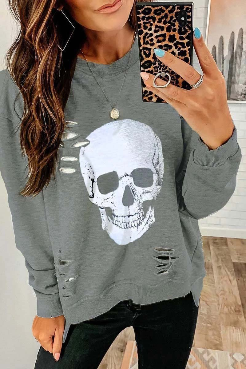 Aptro Skull Printed Sweatshirt(3 Colors)