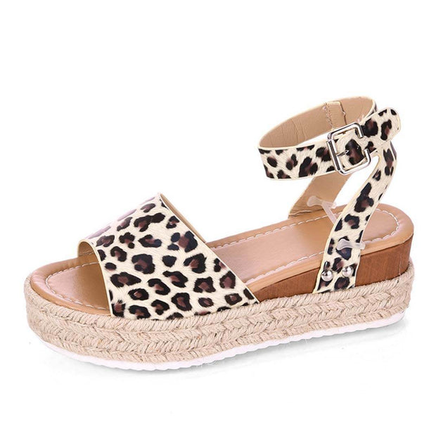 Leopard-Print Hemp Rope Thick Bottom Casual Sandals - Aptro Fashion