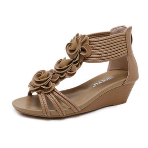 Roman Style Flower Wedge Sandals--Apricot - Aptro Fashion