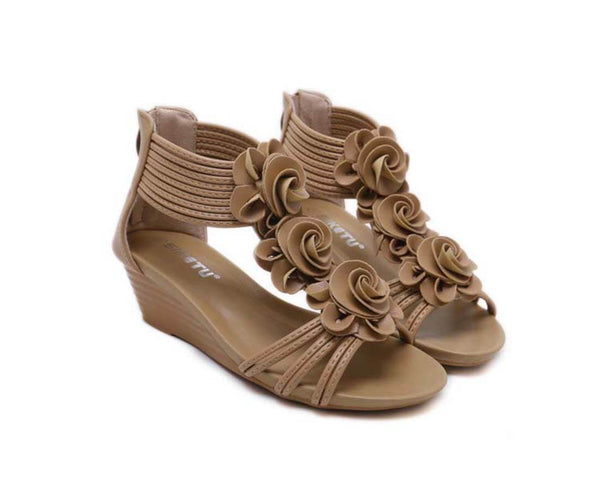 Roman Style Flower Wedge Sandals--Apricot - Aptro