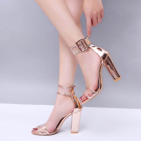 New Fashion Women's Sandals Hollow High Heel Sandals-Golden - Aptro