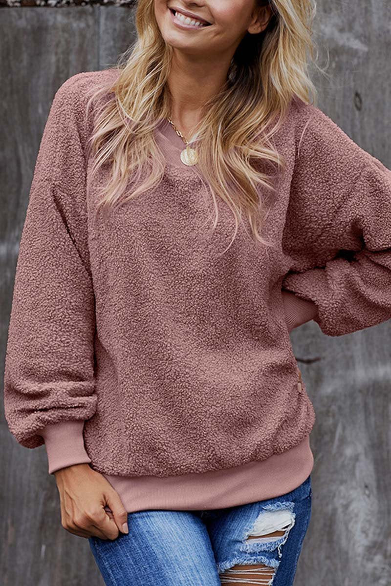 Aptro Teddy Plush Sweater Casual Tops