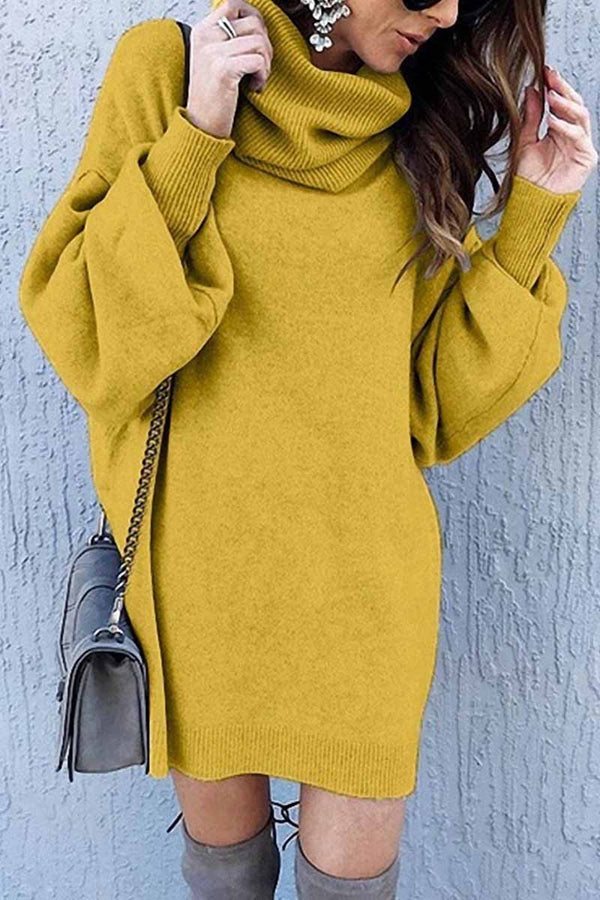 Aptro Loose-Fit Turtleneck Dress