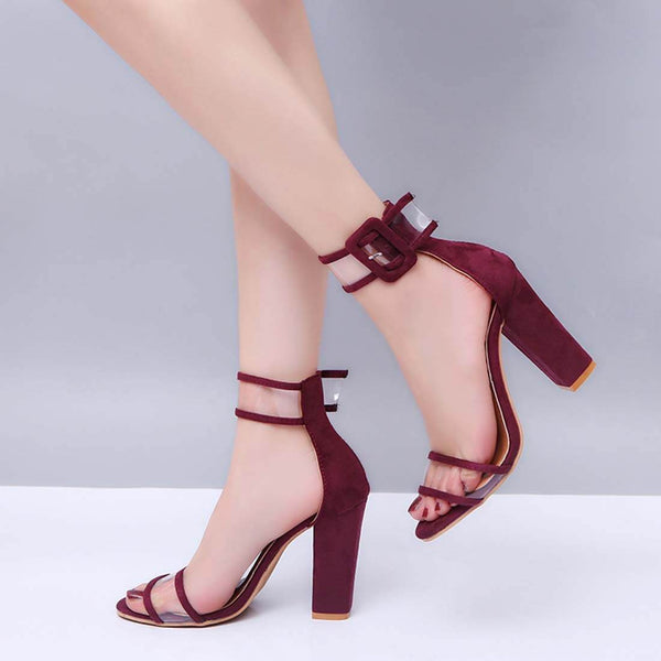 New Fashion Women's Sandals Hollow High Heel Sandals-Wine - Aptro