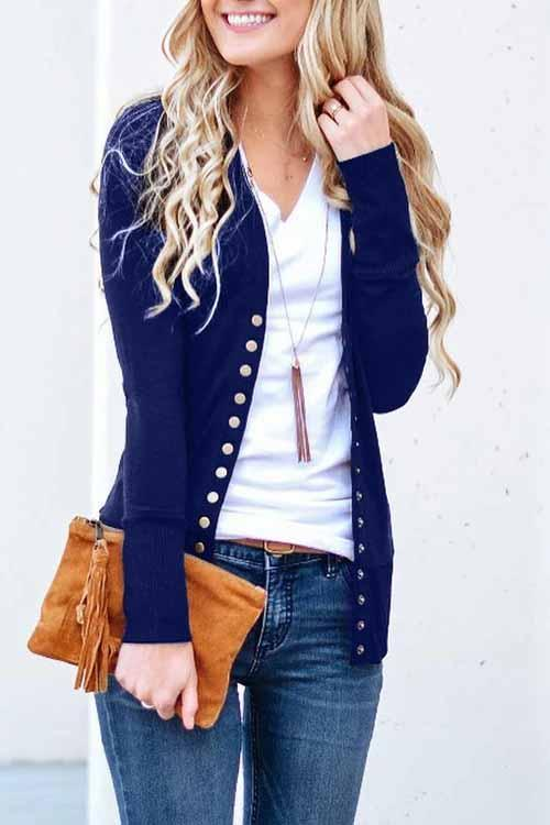 Aptro Long Sleeves Buttons Design Cardigan Tops
