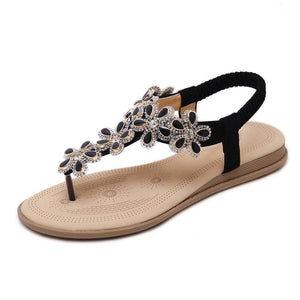 New Fashion Bohemian Flower Black Rhinestones Sandals - Aptro Fashion