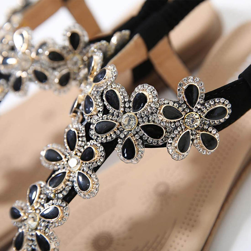 New Fashion Bohemian Flower Black Rhinestones Sandals - Aptro
