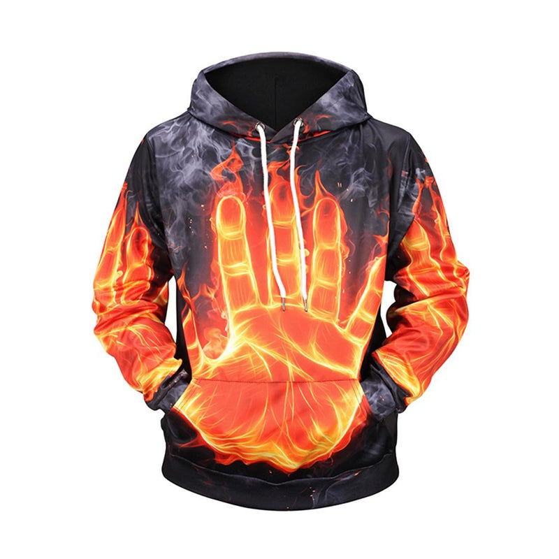 Flame Palm Printed Hoodies & Sweatshirts - Aptro