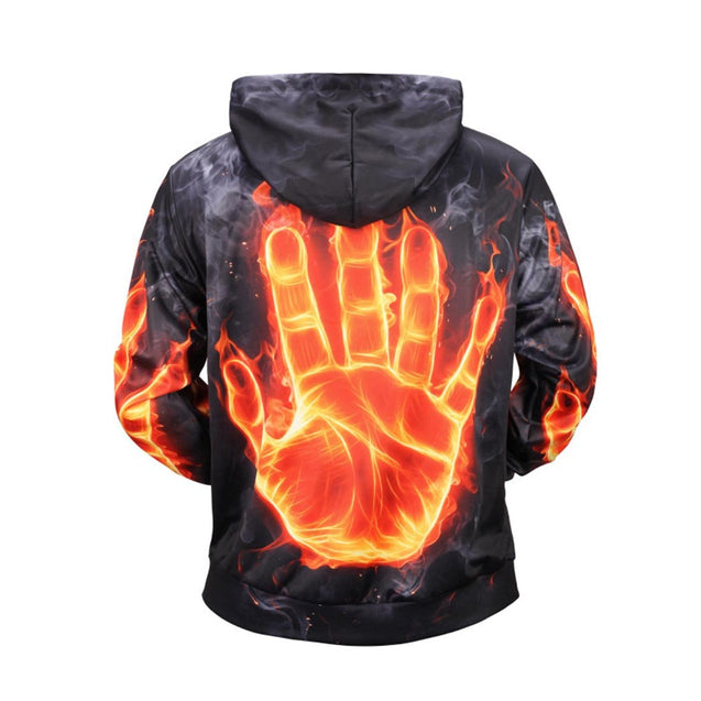 Flame Palm Printed Hoodies & Sweatshirts - Aptro Fashion