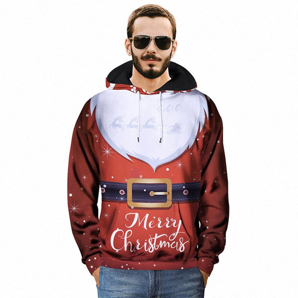 White Beard Print Christmas Hoodies - Aptro