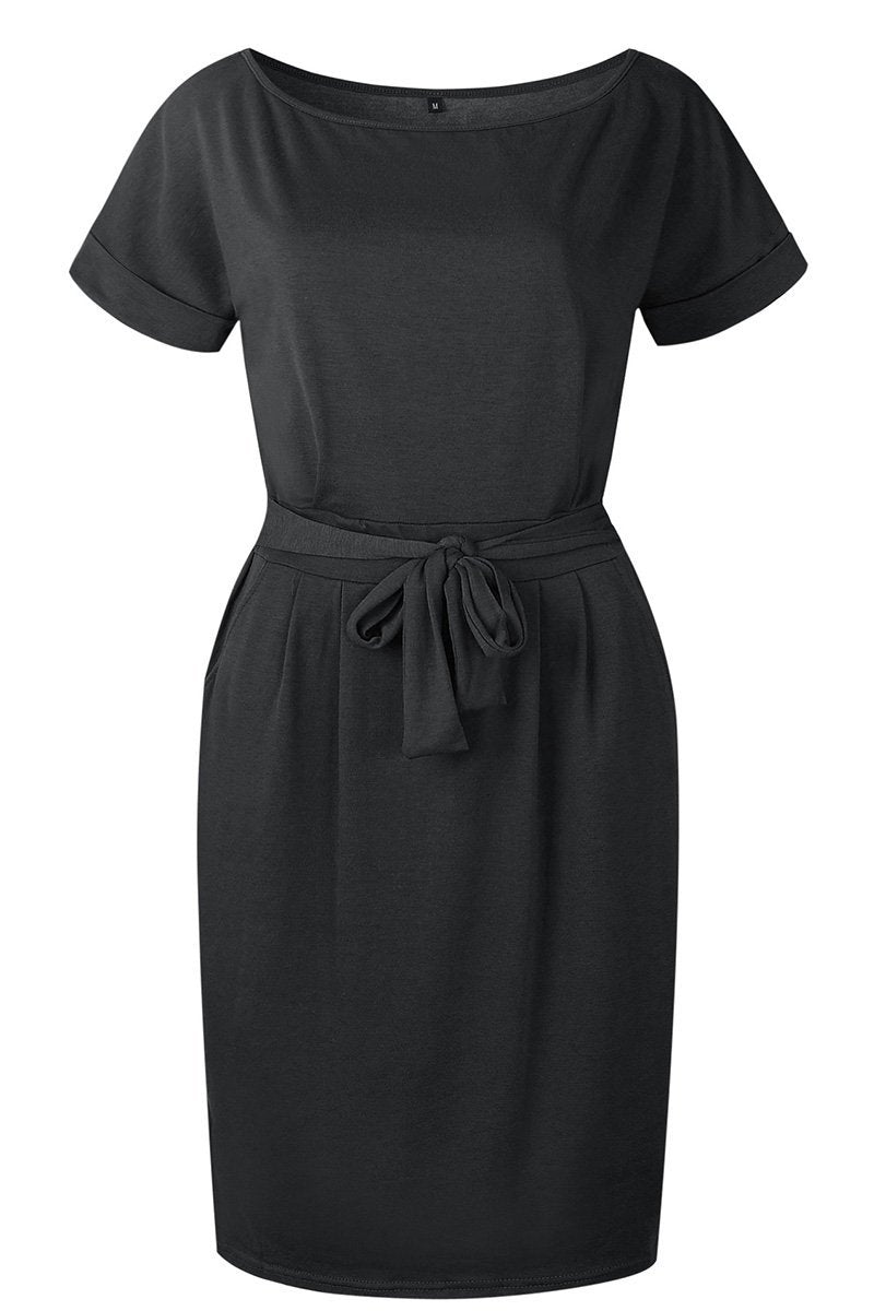 Aptro O Neck Midi Dress With Belt