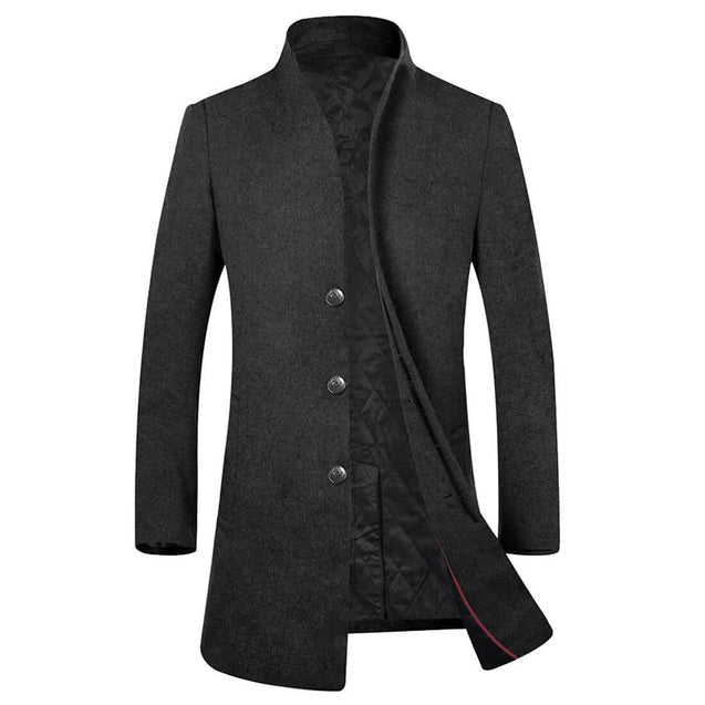 Men's Wool Trench Coat Winter Business Suits Long Top Coat Jacket - Aptro Fashion