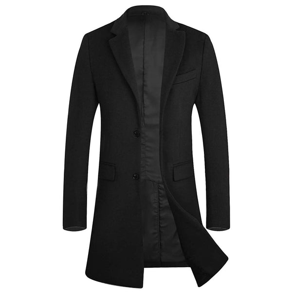Men's Winter Trench Coat Wool Business Pea Coat Gentlemen Overcoat - Aptro