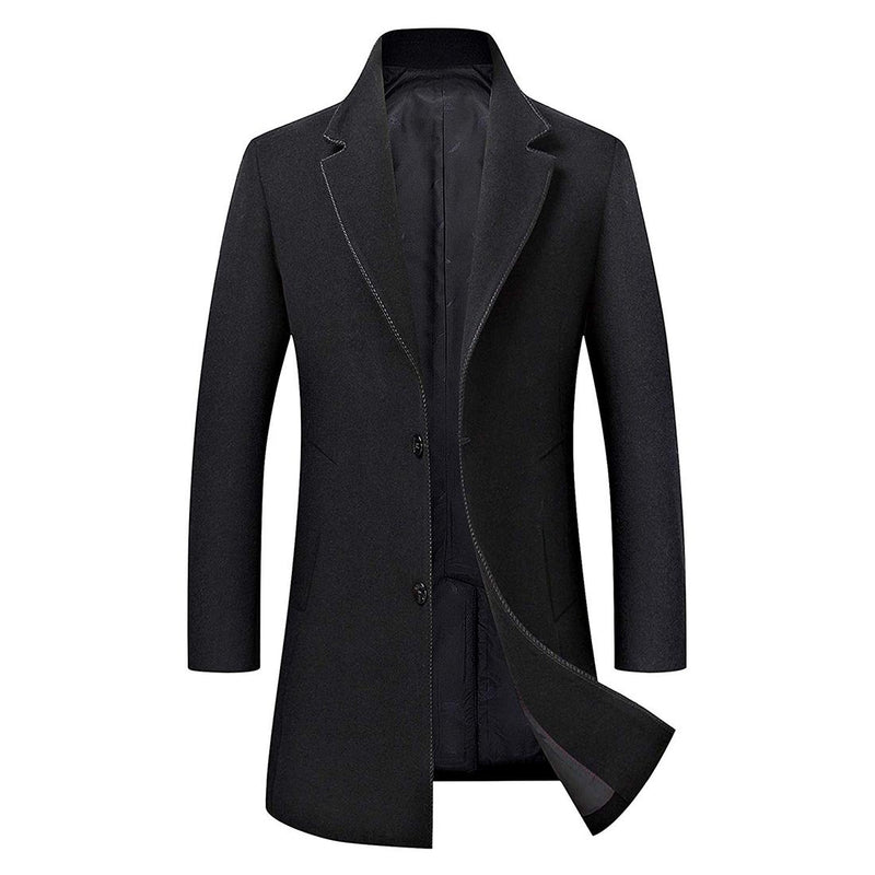 Men's Trench Coat Wool Blend Slim Fit Jacket Business Top Coat - Aptro