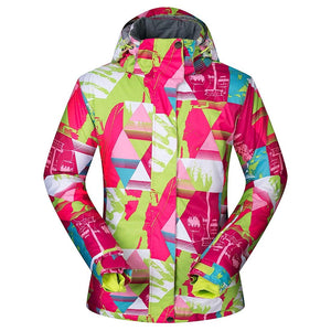 Women's Ski Jacket Outdoor Coat Snowboard Jacket Bright Colorful Print - Aptro Fashion