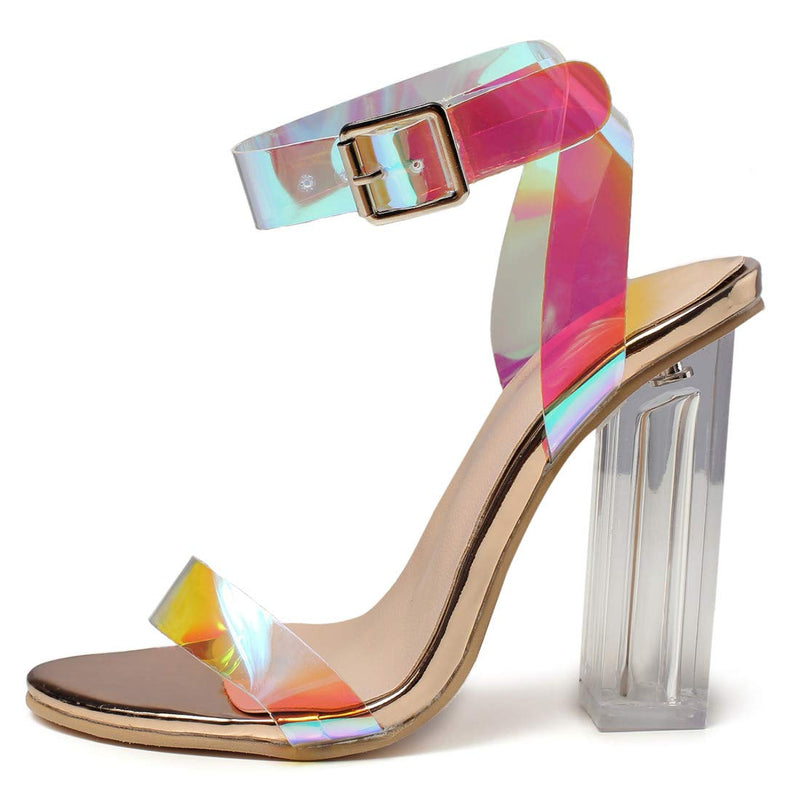 Women's High Heel Sandals Holographic Chunky Party Shoes - 2 - Aptro