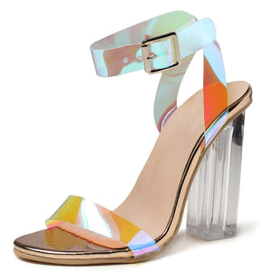 Women's High Heel Sandals Holographic Chunky Party Shoes - 2 - Aptro Fashion