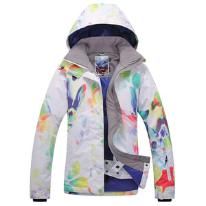 Women's High-Tech Printed Ski Jacket Windproof Snowboard Rain Jacket - Aptro Fashion