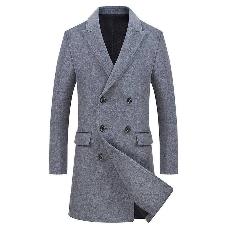 Men's Wool Coats Single/Double Breasted Trench Coat Winter Jacket - Aptro