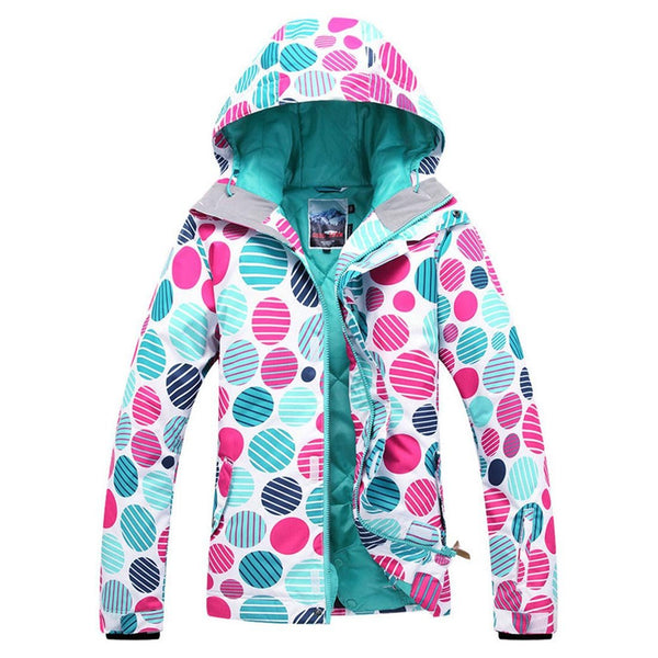 Women's High-Tech Printed Ski Jacket Windproof Snowboard Rain Jacket - Aptro