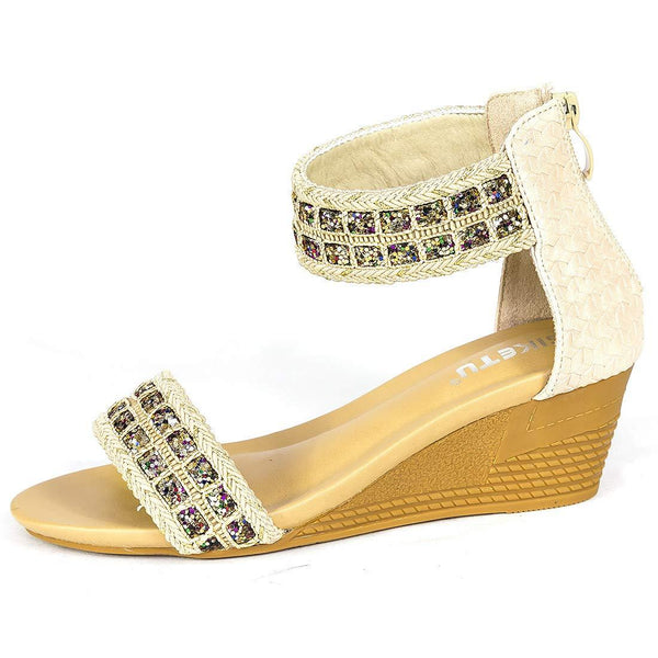 Bohemian Apricot Women's Sequined Sandals - Aptro