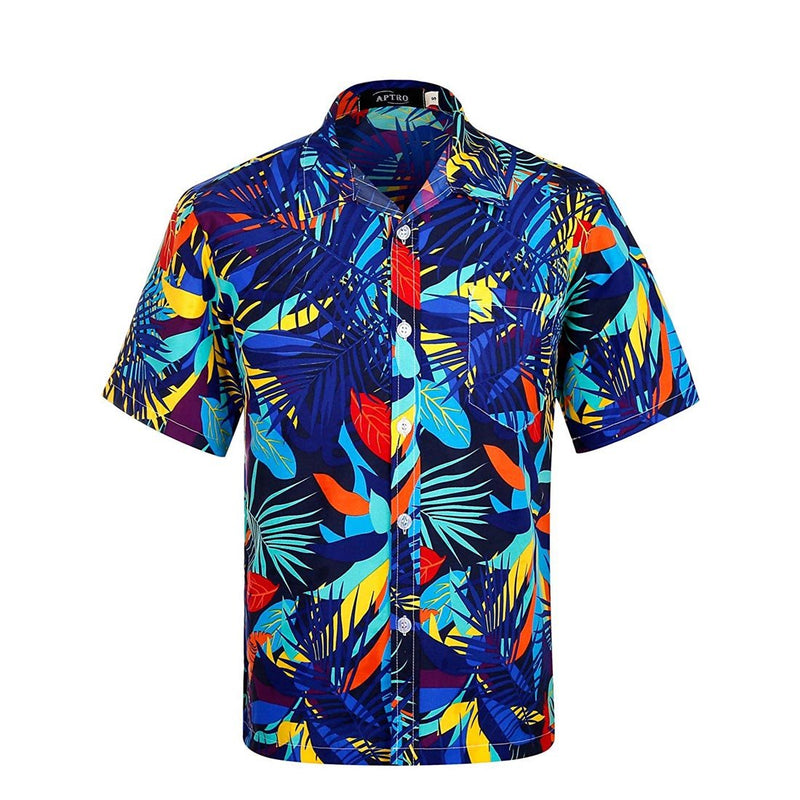 Men's Hawaiian Shirt Floral Short Sleeve Shirts - Aptro Fashion