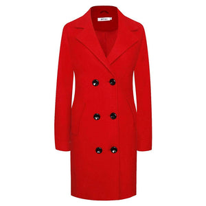 Women's Winter Classic Coat Laple Long Wool Trench Overcoat - Aptro Fashion