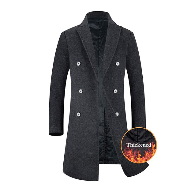 Men's Wool Trench Coat French Long Jacket Winter Business Top Coat - Aptro Fashion