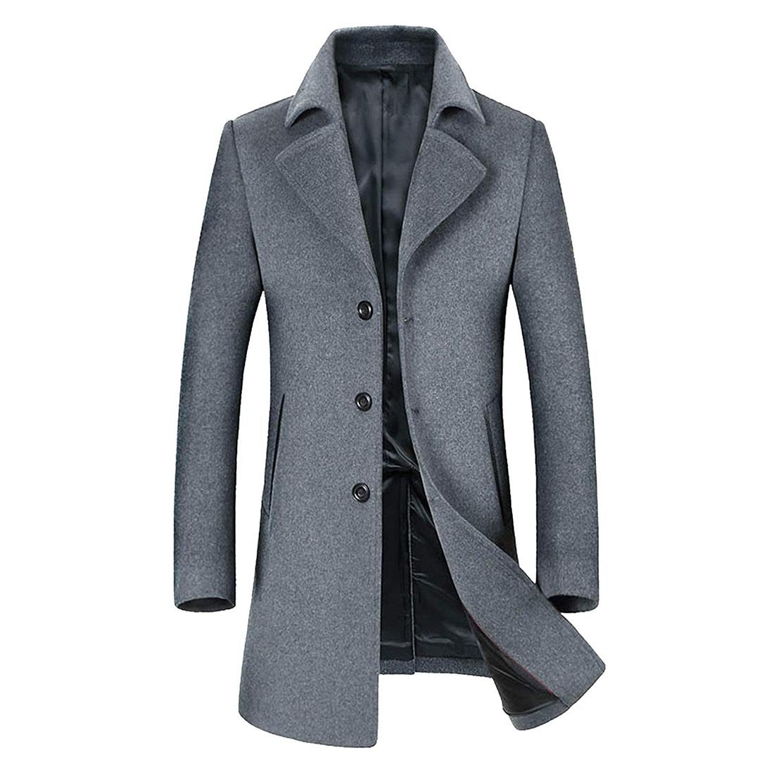 ff808198a Men's Wool Coats Single/Double Breasted Trench Coat Winter Jacket