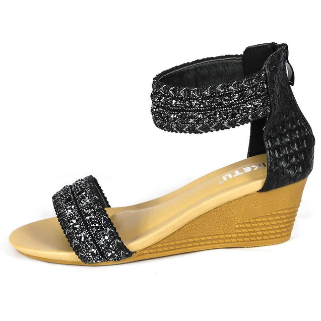 Bohemian Black Women's Sequined Sandals - Aptro Fashion