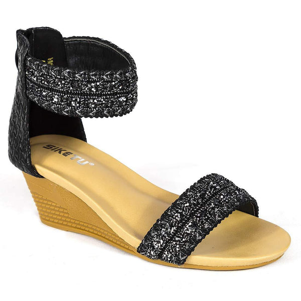 Bohemian Black Women's Sequined Sandals - Aptro