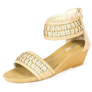 Braided Bohemian Apricot Women's Sandals - Aptro Fashion