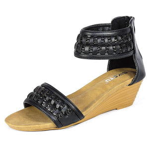 Braided Bohemian Black Women's Sandals - Aptro Fashion