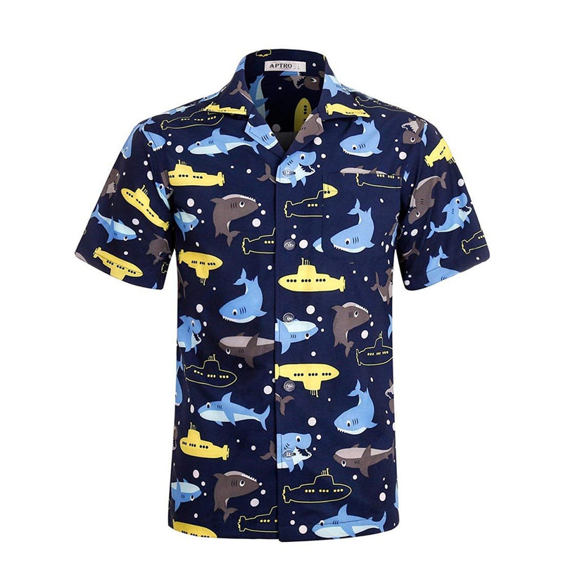 Men's Funny Christmas Hawaiian Shirt 4 Way Stretch Short Sleeve Shirts - Aptro Fashion