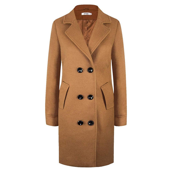 Women's Winter Classic Coat Laple Long Wool Trench Overcoat - Aptro