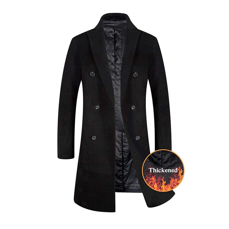 Men's Wool Trench Coat French Long Jacket Winter Business Top Coat - Aptro