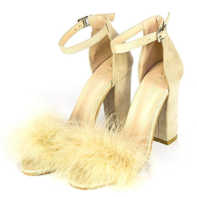Women's High Heel Sandals Beige Chunky Party Shoes - Aptro Fashion