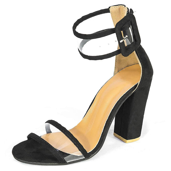 Women's High Heel Sandals Black Chunky Party Shoes - Aptro